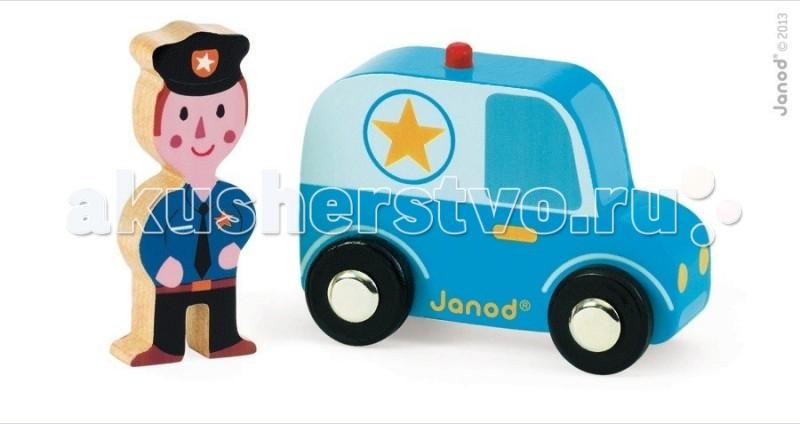 Деревянная игрушка Janod Набор Полицейский с машинойНабор Полицейский с машинойJanod Набор Полицейский с машиной.  Яркая и практичная машинка, изготовлена из дерева. Её размер 7,2х3,5х5,7см. В комплект входит фигурка полицейского размером 2,5х1х5.7 см. У синего пикапа черные колеса с металлическими дисками, как у настоящего автомобиля. Прорисована кабина с окнами, двери с ручками, фары, бампер. На крыше красная мигалка, а по бокам звезды. Полицейский одет в форму: синяя рубашка, черные фуражка, галстук и брюки. Подарите этот подарок любому мальчишке и он не станет лишнем в его гараже. Его можно взять с собой на дачу, на улицу, в поездку. И кроме того, игрушка упакована в красивую подарочную коробку с пластиковым окошком.  Описание товара: деревянная машинка, размером 7,2х3,5х5,7см. фигурка полицейского размером 2,5х1х5,7 см. оригинальный французский дизайн красивая подарочная упаковка с прозрачным окошком.<br>