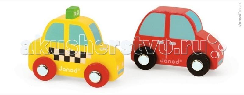 Деревянная игрушка Janod Набор Желтое такси и красный автомобильНабор Желтое такси и красный автомобильJanod Набор Желтое такси и красный автомобиль.  Все элементы, представленного набора, деревянные. Сразу две яркие и практичные машинки: такси размером 7,5х3,5х5,2 см и красное авто размером 7,2х3,5х5,7 см. Такси стилизовано под настоящее: желтая машинка с черно-белыми шашечками на боку, на крыше зеленая табло с надписью taxi, красные колеса с металлическими дисками. У красненькой машинки черные колеса с металлическими дисками, как у настоящего автомобиля.Вручите этот набор любому мальчишке и он не станет лишним в его гараже. Его можно взять с собой на дачу, на улицу, в поездку. И кроме того, игрушка упакована в красивую подарочную коробку с пластиковым окошком.  Описание товара: деревянная машинка-такси размером 7,5х3,5х5,2 см красная деревянная машинка размером 7,2х3,5х5,7 см оригинальный французский дизайн красивая подарочная упаковка с прозрачным окошком.<br>
