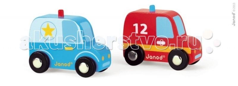 Деревянная игрушка Janod Набор Полиция и пожарная машиныНабор Полиция и пожарная машиныJanod Набор Полиция и пожарная машины.  Сразу две яркие и практичные машинки, изготовлены из дерева. Пожарная машина размером 7х3,5х5,7см. Полицейская машина размером 7,2х3,5х5,7 см.У красной пожарной машины черные колеса с металлическими дисками, как у настоящего автомобиля. Прорисована кабина с окнами, двери с ручками, фары, бампер. На крыше синяя мигалка, а по бокам номер 12 и желтая полоса.   У синего пикапа тоже черные колеса с металлическими дисками. Прорисована кабина с окнами, двери с ручками, фары, бампер. На крыше красная мигалка, а по бокам звезды.Подарите этот набор любому мальчишке и он не станет лишнем в его гараже. Его можно взять с собой на дачу, на улицу, в поездку. И кроме того, игрушка упакована в красивую подарочную коробку с пластиковым окошком.  Описание товара: деревянная пожарная машинка, размером 7х3,5х5,7см. деревянная полицейская машинка, размером 7,2х3,5х5,7см. оригинальный французский дизайн красивая подарочная упаковка с прозрачным окошком.<br>