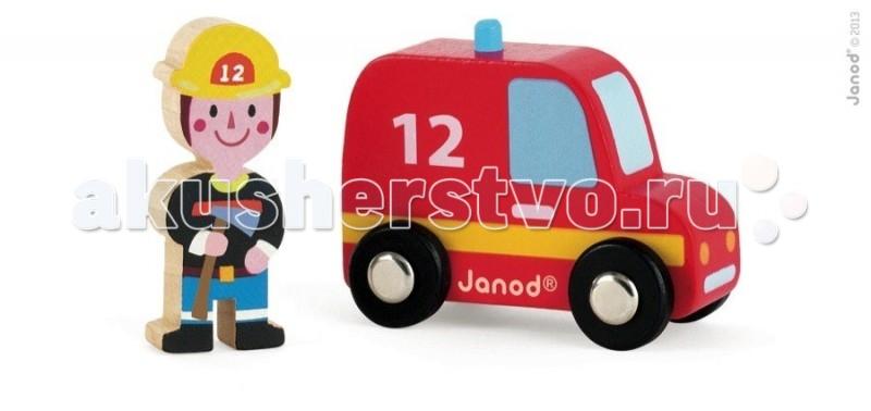 Деревянная игрушка Janod Набор Пожарная машина и пожарный