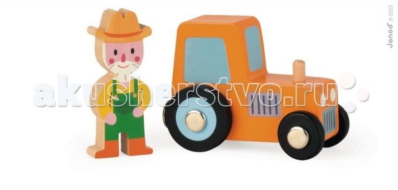 Деревянная игрушка Janod Набор Трактор и фермерНабор Трактор и фермерJanod Набор Трактор и фермер.  Яркая и практичная машинка - трактор, изготовлен из дерева. Его размер 7,5х3,5х5,2 см. В комплект входит фигурка фермера размером 2,4х1х5,8 см. У трактора черные колеса с металлическими дисками, причем задние больше, а передние меньше, как у настоящего трактора. На боках нарисованы декоративные решетки крыла, а спереди радиатор и фары. Сзади у трактора есть магнит, при помощи которого к ней можно присоединять прицеп.   Благодаря этому её можно использовать в игре с другими машинками и поездами компании Janod, которые оснащены такими же магнитами. Фермер в зеленых сапогах, желтом комбинезоне и шляпе.Подарите этот набор любому мальчишке и он не станет лишним в его гараже. Его можно взять с собой на дачу, на улицу, в поездку. И кроме того, игрушка упакована в красивую подарочную коробку с пластиковым окошком.  Описание товара: деревянный трактор с магнитом, размером 7,5х3,5х5,2 см. фигурка фермера размером 2,4х1х5,8 см. оригинальный французский дизайн красивая подарочная упаковка с прозрачным окошком.<br>