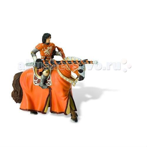 Bullyland Фигурка оранжевый рыцарь на турнире на конеФигурка оранжевый рыцарь на турнире на конеBullyland Фигурка оранжевый рыцарь на турнире на коне - фигурка от бренда Bulluland возвращает в нас те славные времена, когда рыцари убивали драконов и дрались на турнирах за прекрасных принцесс. С этим благородным рыцарем, облаченным в сверкающую броню и яркую оранжевую одежду и вооруженным разящим копьем, вы сами можете устроить любой турнир, победить на нем и получить главный приз!   Фигурка исполнена из синтетического каучука, без добавления ПВХ и вредных веществ, и прослужит вам очень долго, не теряя своего качества и не тускнея.   Рекомендовано для детей от 3 лет.<br>