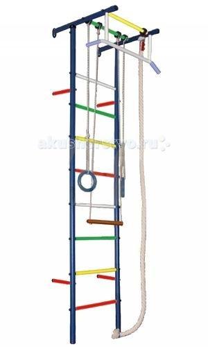 Вертикаль Детский спортивный комплекс Юнга 3.1МДетский спортивный комплекс Юнга 3.1МДСК Вертикаль - это лучшее решение вопроса организации досуга ребёнка! Вы не только простимулируете интерес малыша к физкультуре, но и предоставили ему безбрежный простор для фантазий и выдумок, реализации потаённых детских желаний. В любую, самую ненастную и дождливую, погоду Ваше ненаглядное чадо сможет занять себя делом.   Необузданная детская энергия найдёт выход на спортивных нарядах: малыш и подросток будут с одинаковым удовольствием лазать, как маленькая мартышка, по канатам и веревочной лестнице, разминаться и растягиваться, развивать мышцы тела и рук, ловкость, выносливость и силу всего тела.   Допустимая нагрузка практически на все металлические ДСК достигает 100 кг. Металлические ДСК имеют привлекательный внешний вид.   Для домашних комплексов рекомендуем подобрать дополнительно спортивный мат, который позволит защитить Вашего ребенка от ушибов и ссадин.  Крепление: к стене Высота комплекса: 2.30 м Занимаемая площадь: 0.57 х 0.65 м Допустимая нагрузка: 90 кг Комплектация: турник широкий хват, канат, кольца, трапеция<br>