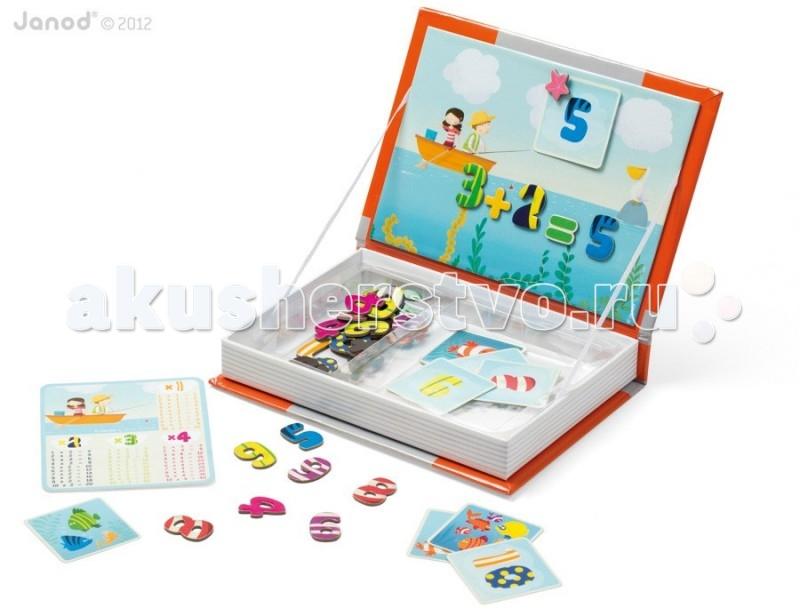 Janod Магнитная книга 1,2,3Магнитная книга 1,2,3Janod Магнитная книга 1,2,3.  Книга-игра с магнитами и карточками для изучения в игровой форме цифр, счета, простых математических действий и таблицы умножения. Размер книги - А4 10 иллюстрированных карточек 45 магнитных элементов с цифрами и математическими знаками; 1 лист с таблицей умножения рекомендуемый возраст 3-8 лет. Внешний вид - толстая книга формата А4, оформленная яркими иллюстрациями в соответствии с тематикой книги.Материал книги - плотный толстый картон. Внутренняя часть - свободное пространство. Внутри книги большая магнитная картинка обратная сторона обложки и отделения для карточек и магнитных элементов.Обложка книги - примагничивается к основному корпусу. В открытом состоянии фиксируется за счет натяжения ленточек, которые соединяют обложку с основным корпусом.  Яркие, красочные карточки задают тему игры с применением магнитиков и большой картинки.Благодаря таким игровым книгам можно придумывать с ребенком много веселых и интересных историй с применением карточек и магнитов. Вариантов игры огромное количество. Оригинальный дизайн и задумка, а также прекрасное качество исполнения.<br>