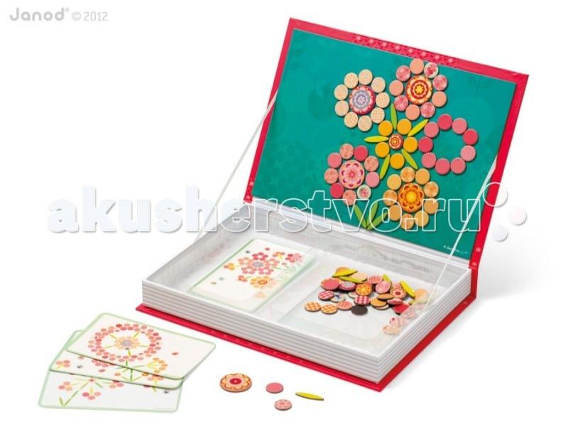 Janod Магнитная книга большая Мозаика цветы