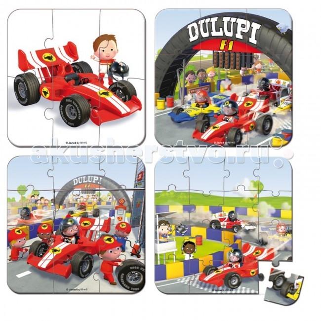 Janod Пазлm Я - гонщик Формулы1 4 в 1Пазлm Я - гонщик Формулы1 4 в 1Janod Пазл Я - гонщик Формулы1, 4 в 1.  Пазл - это:  в переводе с английского puzzle - загадка, головоломка, представляющая собой мозаику, которую требуется составить из множества фрагментов рисунка различной формы. Является одной из самых доступных игрушек. Мозаики делятся по размеру элементов и размеру единой картины. Сложность мозаики определяется рисунком, а главным критерием является число элементов — чем оно выше, тем мозаика больше и сложнее. Мозаики бывают разных форм - классические прямоугольные, треугольные, круглые и овальные.  Детскими пазлами являются: мозаики от 54 элементов и выше, примерно до 260. Мозаики с размерами, превышающими 260 элементов, уже не предназначены для сбора детьми. Помимо классических мозаик, существуют также трёхмерные мозаики и мягкие мозаики, предназначенные для маленьких детей.  Пазл развивает: логическое мышление, внимание, память, воображение такие чудо-картинки очень полезны для развития мышления и познавательных способностей человека по мнению психологов, игра в пазлы способствует развитию образного и логического мышления, произвольного внимания, восприятия, в частности, различению отдельных элементов по цвету, форме, размеру и т. д. учит правильно воспринимать связь между частью и целым развивает мелкую моторику рук. Детский пазл от французской компании Janod - веселые, смешные и познавательные детские рисунки - более 40 видов для мальчиков и девочек, а также деревянные пазлы для малышей от простых до сложных - 16-24-36-39-54-100-208 элементов от маленьких до больших - 20x20, 50x40, 50x50, 92x62, 53x116 и др малышам и детям постарше - от 1 года до 9 лет настольные классические пазлы и современные напольные ковры для детской. Все пазлы упакованы в красивые подарочные коробки из очень плотного жесткого картона с изображением рисунка и ручкой для переноски.   Пазл 4 в 1 Я — гонщик Формулы 1, 6-9-12-16 эл., производства французской компании Janod, предназначен