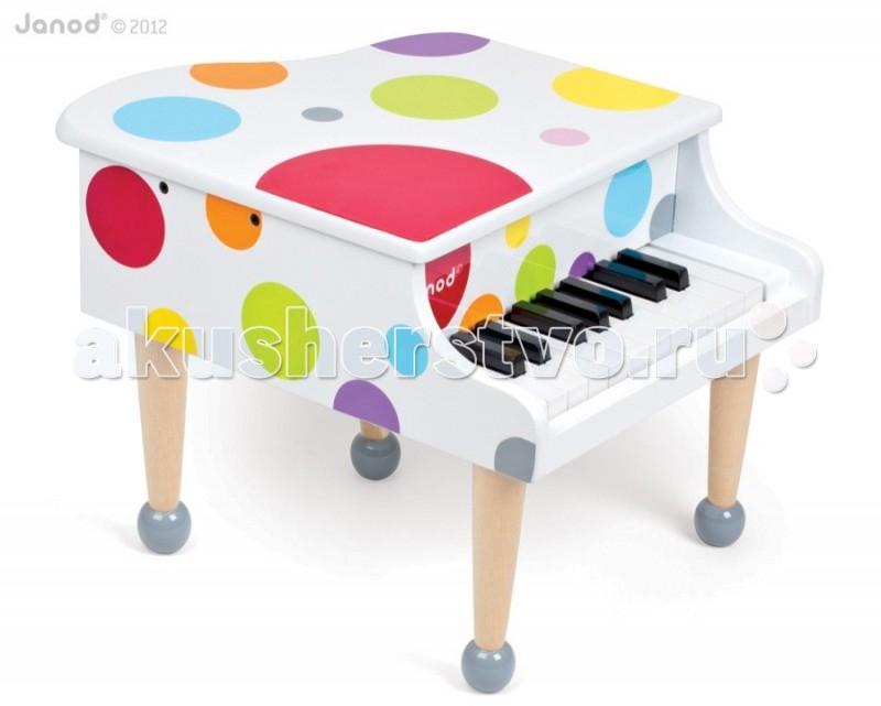 Музыкальная игрушка Janod РояльРояльJanod Игрушка музыкальная Рояль.  Эта замечательная игрушка может стать для Вашего малыша первым музыкальным инструментом, с которым ребенок сделает первый шаг в чудесный мир музыкального искусства.Рояль впечатляет своей веселой расцветкой и красивым лаковым блеском. Ослепительно белый с яркими разноцветными кружками в видет конфетти.  Рояль имеет 18 клавиш - 1,5 октавы. Этого вполне достаточно для того, чтобы малыш разучил несколько простых детских песенок.Компания Janod производит свои игрушки из натуральных материалов. У Вашего ребенка должно быть только самое лучшее! Не отказывайте малышу, если он попросит Вас купить этот великолепный детский инструмент.Красивая подарочная коробка.<br>