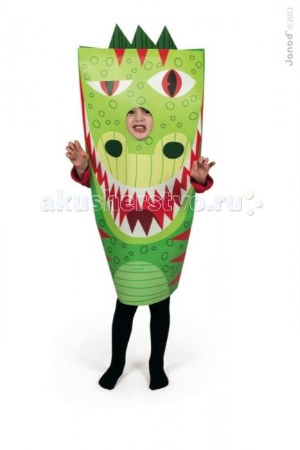Janod Маскарадный костюм ДраконМаскарадный костюм ДраконJanod Маскарадный костюм Дракон.  Маскарадный костюм Дракон, производства французской компании Janod хорошо подойдет мальчику или девочке 3, 4, 5 или 6 лет.Какой же детский праздник обходится без маскарадных костюмов?! Недорогой, но эффектный красочный костюм для главного героя и его гостей не только придаст особенную праздничную атмосферу, но и позволит разыграть целый спектакль.  Костюм выполнен из плотной цветной бумаги, имеет прорезь для рук и головы. Ребенок будет чувствовать себя комфортно и удобно внутри. Бумажный костюм можно использовать для дня рождения, утренника в саду, детского спектакля, любого детского праздника дома или на свежем воздухе. Костюм для детского праздника зеленый дракон для смелых и отважных. Красные вставки на зеленом фоне. Мордочка с большими белыми зубами, красным ртом и языком. Один глаз у дракона спит, другой охраняет. Сверху зеленый гребень. Костюм упакован в красивую подарочную упаковку.  Маскарадный костюм Дракон, Janod: недорогой и очень эффектный для мальчиков и девочек от 3 до 6 лет сделан из бумаги комфортный и удобный для ребенка можно использовать дома или на свежем воздухе подходит для игр на любом детском празднике поднимет настроения и детям, и взрослым подарочная упаковка.<br>