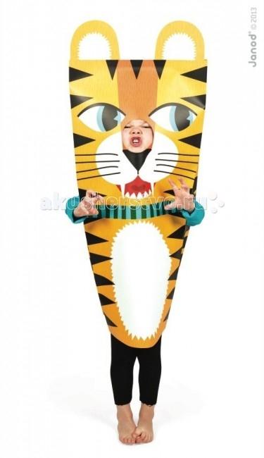 Janod Маскарадный костюм ТигрМаскарадный костюм ТигрJanod Маскарадный костюм Тигр.  Маскарадный костюм Тигр, производства французской компании Janod хорошо подойдет мальчику или девочке 3, 4, 5 или 6 лет.Какой же детский праздник обходится без маскарадных костюмов?! Недорогой, но эффектный красочный костюм для главного героя и его гостей не только придаст особенную праздничную атмосферу, но и позволит разыграть целый спектакль.Костюм выполнен из плотной цветной бумаги, имеет прорезь для рук и головы. Ребенок будет чувствовать себя комфортно и удобно внутри. Бумажный костюм можно использовать для дня рождения, утренника в саду, детского спектакля, любого детского праздника дома или на свежем воздухе.   Костюм для детского праздника желтого тигра выглядит смелым и решительным. Ваш тигренок будет ярко желтого цвета с черными полосками. На шее у него повязана ленточка зеленого цвета. Белая мордочка с большими белыми зубами, черный кожаный нос, усы, хитрые глаза и симпатичный белый животик. Сверху два круглых ушка с белыми вставками. Костюм упакован в красивую подарочную упаковку.  Маскарадный костюм Тигр, Janod: недорогой и очень эффектный для мальчиков и девочек от 3 до 6 лет сделан из бумаги комфортный и удобный для ребенка можно использовать дома или на свежем воздухе подходит для игр на любом детском празднике поднимет настроения и детям, и взрослым подарочная упаковка.<br>