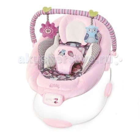 Bright Starts Кресло-качалка Комфорт и гармония Розовое гнездышкоКресло-качалка Комфорт и гармония Розовое гнездышкоBright Starts Кресло-качалка Комфорт и гармония Розовое гнездышко предназначена для малышей от рождения до 9 кг. Маленькие принцессы с удовольствием будут отдыхать в этих милых качелях!  Особенности: Удобное сиденье колыбельного типа с мягкой подушкой для ног и съемным подголовником Успокаивающая вибрация, 7 мелодий, регулировка громкости и автоматическое отключение  Съемная перекладина с 2-мя мягкими игрушками 3-х точечный ремень безопасности 3 батарейки типа С (не входят в комплект) Сидение стирается в стиральной машине Специальные нескользкие ножки   В комплекте: кресло-качалка дуга 2 игрушки<br>