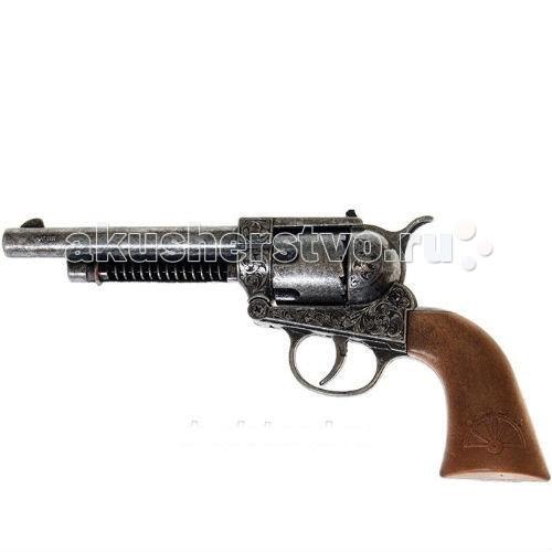Edison Игрушечный Пистолет Фронтир 25 смИгрушечный Пистолет Фронтир 25 смEdison Пистолет Фронтир 25 см - красивый 12-зарядный литой пистолет Frontier Metall Western — отличный подарок маленькому ковбою! Такой стильный пистолет с удобной рукоятью отлично ляжет в руку своему владельцу и не позволит ему промахнуться при стрельбе.  Edison Giocattoli — лучший итальянский производитель игрушечного оружия для социально-ролевых игр, развивающих в детях мышление, логику, физическую силу и ловкость.  Игрушка сделана из качественных и безопасных материалов и не влияет на здоровье ребенка.  Обязательно ознакомьтесь с инструкцией и соблюдайте меры безопасности.  Ёмкость магазина: 12 пистонов  В поставку входит: литой пистолет.  Длина пистолета: 25 см<br>