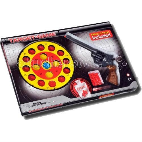 Edison Игрушечный Набор оружия с пистолетом, мишенью и пульками Champions-Line Target GameИгрушечный Набор оружия с пистолетом, мишенью и пульками Champions-Line Target GameEdison Набор оружия с пистолетом, мишенью и пульками Champions-Line Target Game - отличный набор 8-зарядного пистолета с мишенью понравится активным мальчишкам, любящим игры на ловкость и меткость.   В наборе уже есть пульки, поэтому сразу после распаковки игрушки можно устроить соревнования на меткость. Target Game из серии Champions-Line — отличный пистолет с пульками для маленьких чемпионов!  Edison Giocattoli - итальянская компания, выпускающая качественные и долговечные игрушки.  Продукция компании соответствует всем нормам безопасности и качества.  Ознакомьтесь с инструкцией для игрушки и соблюдайте меры безопасности при ее использовании.  Ёмкость магазина: 8 пулек  В комплекте: пистолет, мишень, пульки.  Длина пистолета: 28 см<br>