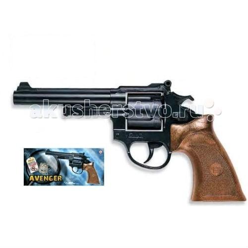 Edison Игрушечный Пистолет Avenger Polizei 21,5 смИгрушечный Пистолет Avenger Polizei 21,5 смEdison Игрушечный Пистолет Avenger Polizei 21,5 см - стильный черный 12-зарядный револьвер Avenger Polizei — отличный подарок любому мальчишке. Этот игрушечный пистолет подойдет как для игр в стиле вестерн, так и для игр про современных полицейских. Активные социально-ролевые игры полезны для детей. Расскажите ребенку о настоящих героях-полицейских и помогите придумать сюжет игры с добрым финалом.  Итальянская компания Edison Giocattoli выпускает игрушки на итальянских заводах с 1958 г., что говорит о высоком качестве игрушек компании.  Игрушка сделана из качественных и безопасных материалов и не влияет на здоровье ребенка.  Обязательно ознакомьтесь с инструкцией и соблюдайте меры безопасности.  Ёмкость магазина: 12 пистонов  Длина пистолета: 21,5 см<br>