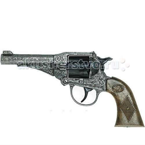 Edison Игрушечный Пистолет Стерлинг 17,5 смИгрушечный Пистолет Стерлинг 17,5 смEdison игрушечный Пистолет Стерлинг 17,5 см - среди других 8-зарядных пистолетов от Edison Giocattoli игрушечный пистолет Sterling Metall Western выделяется своим внешним видом. Литое дуло пистолета, резьба по дулу и рукоятке, массивность и винтажный стиль — всё это придает модели Sterling Metall Western ковбойский шик.  Edison Giocattoli - компания, выпускающая свои игрушки с 1958 г. и только на собственных заводах в Италии.  Продукция итальянской компании соответствует всем нормам безопасности и качества.  Заранее изучите инструкцию по безопасному обращению с игрушкой.  Ёмкость магазина: 8 пистонов.  Длина пистолета: 17,5 см<br>