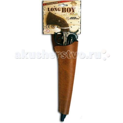 Edison Игрушечный Пистолет Long Boy Western 39 смИгрушечный Пистолет Long Boy Western 39 смEdison Игрушечный Пистолет Long Boy Western 39 см - от итальянской компании Edison Giocattoli – это литой игровой пистонный револьвер, который будет отличным спутником крутому шерифу или лихому ковбою. Замечательно подходит в качестве подарка мальчишкам — любителям приключений и вестернов.  Итальянская компания Edison Giocattoli выпускает игрушки на итальянских заводах с 1958 г., что говорит о высоком качестве игрушек бренда.  Игровые пистонные пистолеты Edison Giocattoli соответствуют всем нормам безопасности и качества.  Внимательно ознакомьтесь с инструкцией и соблюдайте меры предосторожности.  Ёмкость магазина: 8 пистонов  Длина пистолета: 21 см<br>