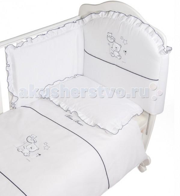 Комплект в кроватку Italbaby Blue Bear (5 предметов)Blue Bear (5 предметов)Комплект постельного белья Blue Bear от компании Italbaby идеально подойдет для люльки-кроватки из одноименной коллекции.  Гипоаллергенно, сертифицировано, стирка в стиральной машине.  Комплект может быть дополнен фирменными аксессуарами: колыбель, конверт на молнии, настольный абажур, плетеная корзина для аксессуаров, корзина для переноски.   Комплект из 5 предметов:  бампер простынь на резинке наволочка одеяло  пододеяльник  Состав: 100% хлопок.  Общие размеры: одеяло, пододеяльник (дхш) 100х130 см наволочки (дхш) 40х60 см простынь на резинке 63х125 см<br>