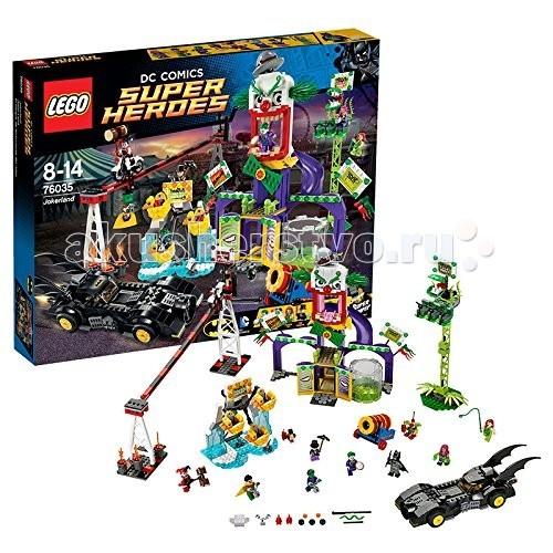 Конструктор Lego Super Heroes 76035 Лего Супер Герои ДжокерлендSuper Heroes 76035 Лего Супер Герои ДжокерлендКонструктор Lego Super Heroes 76035 Лего Супер Герои Джокерленд  Самый большой набор из серии Lego Super Heroes® по вселенной DC Comics состоит из 1037 деталей и включает целых 8 минифигурок.  Заклятый враг Бэтмэна — Джокер собрал своих сообщников, захватил Робина и комфортно устроился в Парке Развлечений, превратив его в настоящий Пару Ужасов. Все аттракционы поменяли свои названия и вместо радости и веселья приносят горе и страдания.  Ворвись в Джокерлэнд на Бэтмобиле при поддержке Старфаер и Зверёныша, открой огонь из пружинных пушек, спрятанных в носовой части, победи злодеев и спаси друга. Каждый из аттракционов выполняет определённую игровую функцию: голова Джокера с горкой, которая ведёт в бак с кислотой, при нажатии на рычаг платформа наклоняется и минифигурка отправляется вниз.   Кольца огня Харли Куин — потрясающий акробатический трюк с мотоциклом, проезжающим по узкой направляющей на огромной высоте, к которой прикован Робин. Башня свободного падения, которую облюбовала Ядовитый Плющ теперь обросла лианами, а украшает её огромный плотоядный цветок.   Небольшим колесом обозрения с кабинками-уточками теперь управляет Пингвин и его прислужник, вооружённый динамитом. Завершает коллекцию жутких аттракционов пушка Джокера с функцией стрельбы.  Набор придётся по душе как коллекционерам за счёт огромного количества интересных деталей ярких цветов и интересных минифигурок, так и людей, которым нравятся игровые наборы.  В набор входят 8 минифигурок: Бэтмен, Робин, Зверёныш, Старфаер, Джокер, Харли Куин, Пингвин и Ядовитый Плющ Каждый аттракцион Джокерлэнда имеет свою игровую функцию Бэтмобиль оснащён пружинными шутерами.<br>