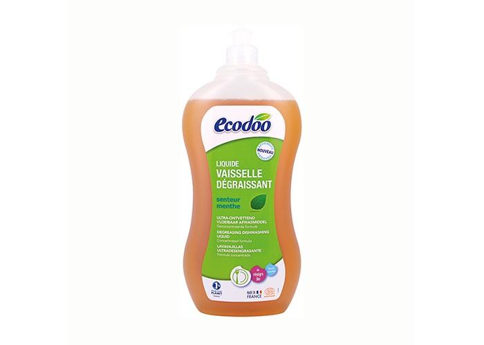 Ecodoo Средство для мытья посуды с уксусом 1000млСредство для мытья посуды с уксусом 1000млСредство для мытья посуды Ecodoo с уксусом 1000мл   Особенности:    С эфирным маслом мяты.  Эфективная обезжиривающая формула.  Очищает и удаляет жир, придает блеск посуде, экономичный расход (500 мл = 2 л классического средства для мытья посуды), благодаря экстракту алое вера защищает кожу рук, полностью смывается водой, при использовании в чистом виде удаляет пятна с одежды.  Без продуктов нефтехимии, синтетических красителей, отдушек и консервантов.    Состав:  >30% вода,<br>