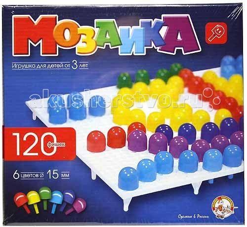 Тридевятое царство Мозаика (120 элементов) 00965Мозаика (120 элементов) 00965Тридевятое царство Мозаика 00965 120эл.  Более двенадцати лет ООО Тридевятое царство выпускает металлические конструкторы, мозаики, кубики, детское лото, детское домино, строительные наборы, наборы букв и цифр, счетный и раздаточный материал, магнитные доски и магнитно-маркерные доски, развивающие игры Олеси Емельяновой. Ежегодно ассортимент пополняется примерно ста новыми артикулами. В 2014 году линейку продукции Десятого королевства –   Тридевятого царства пополнили кормушки для птиц, скворечники, серии игр по ОБЖ для дошкольников и по правилам дорожного движения для детей, серии Магнитные Пифагорики, Магнитные истории, конструкторы для самых маленьких Мягкие кирпичики», деревянные кубики и строительные наборы. Вся продукция сертифицирована, многая защищена авторским правом, патентами и свидетельствами. На предприятиях организован входной контроль сырья и комплектующих, мы обходимся без привлечения трудовых мигрантов, являемся одними из лучших по охране труда.   Вашему ребенку обязательно понравится собирать картинки из разноцветной мозаики!Сборка мозаичных картнок — прекрасное развлечение для ребенка. Дома, животные, цветы, автомобили, узоры — количество возможных картинок и фигур ограничивается только детским воображением!   Занятия с мозаикой способствуют развитию мелкой моторики рук, фантазии, творческих способностей, внимания, учит правильно комбинировать цвета. Сборка картинок из разноцветных деталей — это творчество, для которого не требуется пачкающих руки красок и фломастеров. Детали прочно закрепляются на поле и готовая картинка не рассыпется если ее перевернуть, а когда собранная картинка уже надоела — легко снимаются.<br>