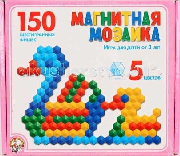 Тридевятое царство Мозаика магнитная шестигранная 150 фишек 00960Мозаика магнитная шестигранная 150 фишек 00960Тридевятое царство Мозаика магнитная шестигранная 150 фишек 00960. Мозаика - увлекательная развивающая игра. В качестве наглядного пособия к игре прилагается книжка-подсказка. Оригинальная конструкция платы позволяет легко вставлять фишки, предотвращая их выпадение. Все детали выполнены из высококачественных материалов, безопасных для ребенка.Состоит из ста пятидесяти шестигранных элементов, диаметр каждого 20 мм, пять цветов.Развивает воображение, мышление, логику, моторику, творческое начало, упорство и усидчивость<br>