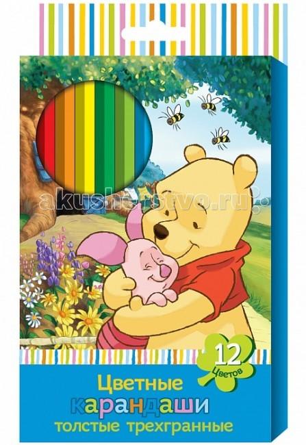 Disney Винни цветные толстые трехгранные 12 цв. 22536