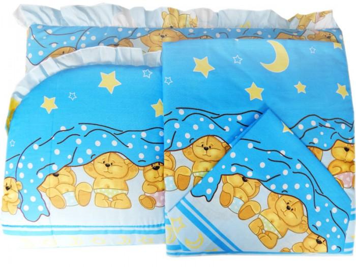 Комплект для кроватки Папитто Борт раздельный высокий + постельное белье 7215