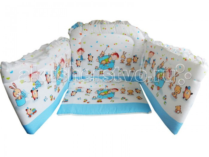 Бампер для кроватки Папитто раздельный высокийраздельный высокийБампер в кроватку защитит малыша, пока он маленький. И послужит отличным украшением детской кроватки.  Борт раздельный 4-е части, высота 40 см, длина 120 см.  Состав: бязь набивная (хлопок 50%, ПЭ 50%)  Наполнитель: ПЭ  Внимание! Цвета в ассортименте!<br>