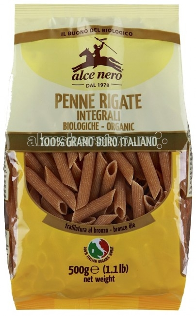Alce Nero Макароны Penne Rigate из цельнозерновой пшеницы твердых сортов 500 гр