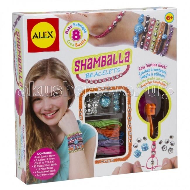 Alex Набор для создания браслетов ШамбалаНабор для создания браслетов ШамбалаСоздай браслеты в буддийских традициях- любви, мира и счастья!   Считается, что браслеты Шамбала придают уверенность в себе и заряжают положительной энергией.   В наборе: 6 разноцветных ниток, крючок на присоске, бусинки серебряные, металлические и имитирующие драгоценные камни, простая инструкция.<br>