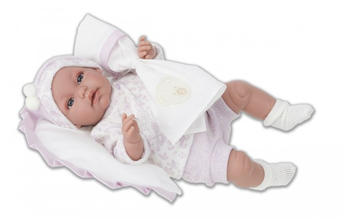Munecas Antonio Juan  Кукла Мара озвученная 34 смКукла Мара озвученная 34 смКукла-младенец Мара выглядит совсем как ребенок. Она одета в костюмчик с шапочкой, дополнена подушечкой.  Личико сделано с детальными прорисовками. Образы малышей Мунекас разработаны известными европейскими дизайнерами. Они натуралистичны, анатомически точны, с подвижными ручками и ножками, копируют настоящих младенцев.  Малыш умеет разговаривать: нажмите на животик 1 раз - кукла засмеется, 2-ой раз - кукла скажет мама, 3-ий раз - скажет папа.   Кукла с виниловыми подвижными ручками, ножками и головой, и мягконабивным туловищем.   Кукла упакована в красивую подарочную коробку.  Куклы Antonio Juan Munecas существуют уже более 40 лет и пользуется заслуженной популярностью в Европе. Куклы производятся исключительно в Испании, из высококачественных материалов, безвредных для ребенка. Образы кукол разрабатываются ведущими Европейскими дизайнерами, они высокохудожественны, натуралистичны (девочки/мальчики), одеты в красивую современную одежду, сшитую из натуральных тканей. Упакованы в стильные фирменные коробки.  В наш век технического прогресса классические куклы Антонио Хуан, с милыми добрыми детскими чертами не перестают пользоваться популярностью, а способность разговаривать, смеяться и плакать делает их вполне современными и интересными даже для самых «продвинутых» деток.<br>
