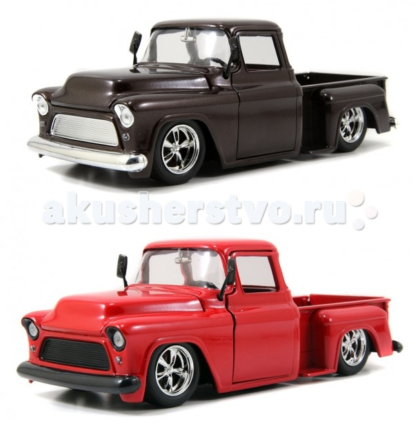 Jada Diekast Модель 1955 Chevy Step Side Pickup - Cartely Grazia 1:24Diekast Модель 1955 Chevy Step Side Pickup - Cartely Grazia 1:24Масштабная модель Jada Toys Diekast 1955 Chevy Step Side Pickup - Cartely Grazia 1:24 - точная копия настоящего автомобиля c высокой степенью детализации, которая одинаково понравится как взрослому, так и ребенку.  Dubcity – серия машин, которые обращают на себя внимание прежде всего огромными хромированными колёсными дисками. Кроме этого в моделях Jada серии Dubcity вы найдёте: - спортивные дисковые тормоза - хромированный выхлоп - спортивные низкопрофильные покрышки - эксклюзивная отделка салона.  Игрушка выполнена из прочного металла с пластиковыми элементами и имеет открывающиеся двери, багажник и капот. Корпус сделан литьевым способом, что обеспечит высокую прочность и долговечность в использовании автомобиля, а также максимальную схожесть с прототипом.   Машинка станет хорошей игрушкой для ребенка и отличным дополнением к любой коллекции масштабных автомоделей.  Компания Jada Toys выпускает коллекционные модели автомобилей. Обладает лицензиями на производство тюнингованных моделей машин от известных мировых марок: Mercedes-Benz, Hammer, Ford, Chevrolet, Cadillac, Nissan, BMW, Mitsubishi, Mazda, Toyota, Volkswagen, Subaru, Lamborghini. Jada Toys имеет эксклюзивную лицензию на выпуск Chevrolet Camaro во всех масштабах, премию от компании Ford за дизайн и креативность моделей.<br>