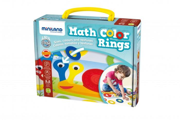 Miniland Обучающий набор Цветные кольцаОбучающий набор Цветные кольцаПредназначен для изучения принципов дифференциации размеров, цветов, текстур.  В наборе 8 больших колец, 8 маленьких колец, 18 карточек с заданиями, методические указания для родителей и педагогов, кейс для сбора и хранения всех частей игры.  Вся продукция Miniland выполнена из качественных, безопасных материалов, которые проходят строгий контроль соответствия действующим нормам безопасности.<br>