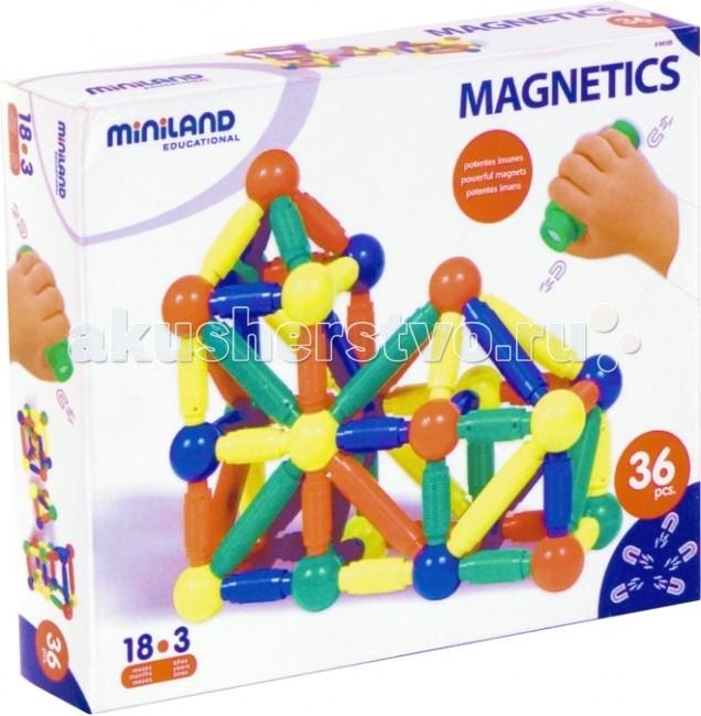 Конструктор Miniland Magnetics магнитный 36 элементовMagnetics магнитный 36 элементовМагнитный конструктор с крупными деталями.   Развивает креативность и творчество, стремление к познаниям, моторику, когнитивные навыки, чувство формы, пространственно-объемное и техническое мышление.   36 деталей. Максимальный размер детали - 130 мм.   В наборе методические указания для родителей и педагогов.  Вся продукция Miniland выполнена из качественных, безопасных материалов, которые проходят строгий контроль соответствия действующим нормам безопасности.<br>