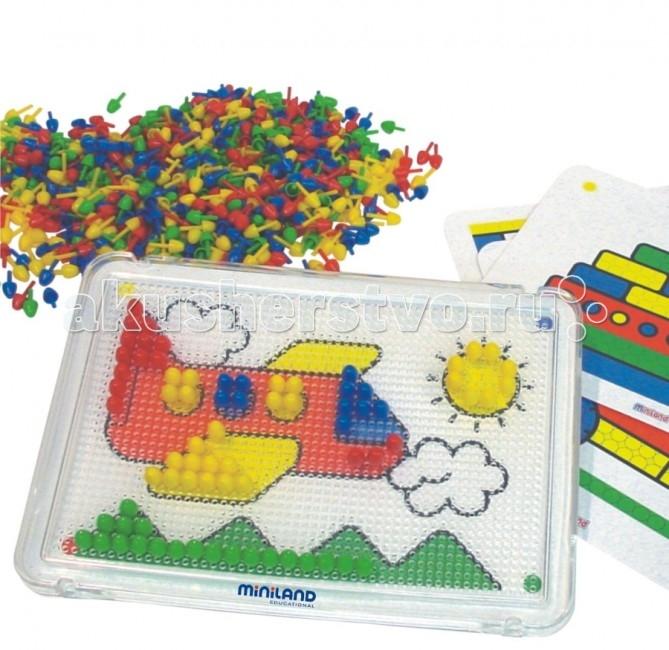 Miniland Мозаика 10 мм 600 элементовМозаика 10 мм 600 элементовИгрушка выполнена из экологически чистой пластмассы.  Размер деталей 10 мм в диаметре.  В комплект входят прозрачная доска из оргстекла с отверстиями, 600 фишек четырех основных цветов (красный, желтый, синий, зеленый) и 6 плоских трафаретов.  В отличие от подобных обычных игрушек-мозаик, прозрачная игровая доска позволяет помещать под ней пластинки-модели и копировать их на доске с помощью фишек. Пластинки очень тонкие, и в то же время красочные и понятные.  Вся продукция Miniland выполнена из качественных, безопасных материалов, которые проходят строгий контроль соответствия действующим нормам безопасности.<br>