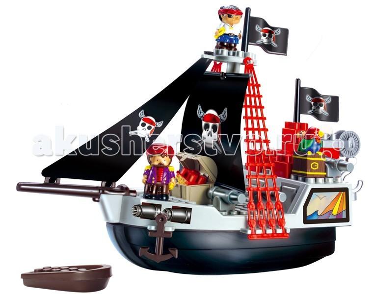 Конструктор Ecoiffier Пиратский корабльПиратский корабльКонструктор Ecoiffier Пиратский корабль  Включает в себя 29 деталей: большой корабль, лодку, сундук с сокровищами, пиратов и блоки для конструирования.   Изготовлен из высококачественной пластмассы, нет мелких деталей.  Размер игрушки: 48,5х19х35 см<br>