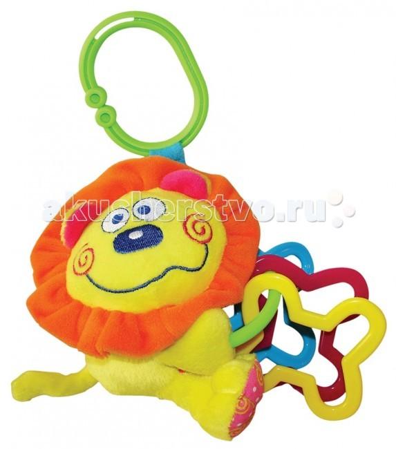 Подвесная игрушка Мир детства Мини-подвеска ЛьвенокМини-подвеска ЛьвенокПодвесная игрушка Мир Детства Мини-подвеска Львенок - удобно крепить на коляску, автокресло и т.д.  Игрушка содержит развивающие детали.<br>