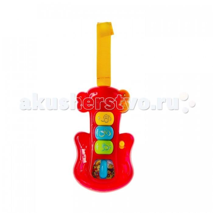 Музыкальная игрушка Мир детства ГитараГитараМузыкальная игрушка Мир Детства Гитара - настоящая находка для маленьких музыкантов, в их распоряжении - множество мелодий, переключателей и даже светомузыка.<br>