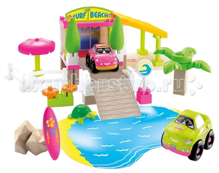 Конструктор Ecoiffier Surf BeachSurf BeachКонструктор Ecoiffier Surf Beach является полноценным конструктором с несколькими элементами. Рассчитан на детей старше трёх лет.   Весь комплект выполнен в красочных цветах: розовом, зелёном и ярко-жёлтом. Может использован для игр в поход на пляж, на морскую тематику и т.д.   Комплект развивает в ребёнке память, фантазию и моторику рук. Это готовая постановка отдыха на пляже с участием игрушечных машинок в главной роли.  Они изготовлены из высококачественной пластмассы.   В комплекте:    пластмассовые пальма и зонт от солнца;  камни, имитирующие морские валуны;  пластмассовые кусты с цветами;  столб со знаком того, что рядом находится водная зона;  основная фигурка лестницы со входными дверьми на пляж. На ней находятся два пластмассовых дерева;  дополнительные элементы для декора (сёрфинг, черепаха, разборной заборчик).  Вся сценка является разборной. Комплект можно составлять и разбирать по собственному усмотрению.  Размер игрушки: 36х49,5х19 см<br>