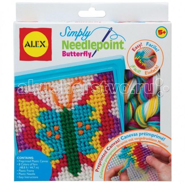 Alex Набор для вышивания БабочкаНабор для вышивания БабочкаПростой набор для вышивания по канве, для начинающих.   В набор входит: пластиковая канва с нанесенным на нее рисунком, пластмассовая рамка, пластмассовая игла, разноцветные нитки и простая инструкция.   Alex - лидирующий в США бренд игрушек и наборов для детского творчества, развивающих игрушек для малышей, обладающий яркой индивидуальностью и собственным неповторимым стилем. На сегодняшний день продукция ALEX продается в более чем 80 странах мира. Alex помогает детям пойти по радостному пути творчества, обучения через игру и свободного самовыражения.<br>