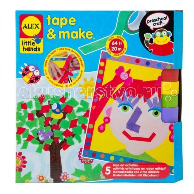 Alex Набор для создания коллажей Яркие картинкиНабор для создания коллажей Яркие картинкиНабор для создания 5-ти больших красочных аппликаций удивительным способом - из кусочков цветных лент на клейкой основе и из готовых стикеров. Разноцветные ленты серпантина, которые можно разрезать и склеивать как угодно, проявляя настоящее творчество!   В наборе 5 картонных основ с забавными картинками. Клейкая лента 4 ярких цветов в рулонах - всего 20 м, 126 стикеров.   Развивает фантазию, мышление, мелкую моторику.  Alex - лидирующий в США бренд игрушек и наборов для детского творчества, развивающих игрушек для малышей, обладающий яркой индивидуальностью и собственным неповторимым стилем. На сегодняшний день продукция Alex продается в более чем 80 странах мира. Alex помогает детям пойти по радостному пути творчества, обучения через игру и свободного самовыражения.<br>