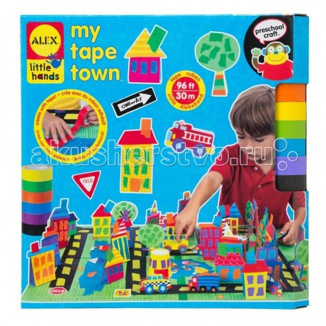 Alex Набор для поделок из цветной клейкой ленты ГородНабор для поделок из цветной клейкой ленты ГородНабор для поделок Город. Используя разноцветную клейкую ленту, можно создать свой собственный город с домами, дорогами, машинками и парком. Игра отлично развивает творческие способности и фантазию.   В наборе: 30 м цветной клейкой ленты 6 цветов, 68 стикеров, бумажные фигурки, 2 основы 20 х 30 см, 4 бумажных стаканчика и подробная инструкция в картинках.  Alex - лидирующий в США бренд игрушек и наборов для детского творчества, развивающих игрушек для малышей, обладающий яркой индивидуальностью и собственным неповторимым стилем. На сегодняшний день продукция Alex продается в более чем 80 странах мира. Alex помогает детям пойти по радостному пути творчества, обучения через игру и свободного самовыражения.<br>