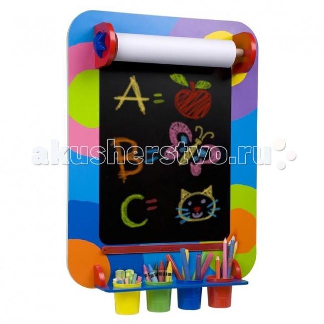 Alex Доска подвесная для рисованияДоска подвесная для рисованияДоска для рисования (подвесная) Alex - чудо-приспособление для рисования, которое порадует своей компактностью и дизайном и родителей, и детей. Доска имеет поверхность, идеально подходящую для рисования мелками, а сверху можно устанавливать рулон бумаги, конец которого удобно фиксируется ограничителем снизу. На бумаге ребенок сможет рисовать карандашами, фломастерами, восковыми мелками и даже красками.   Доска легко крепится на стену, а принадлежности для рисования всегда будут под рукой благодаря ярким пластиковым стаканчикам. Такое приспособление займет свое почетное место в детской комнате и станет любимым местом, где малыш будет проводить большую часть свободного времени, развивая воображение, творческие способности и мелкую моторику.  Alex - лидирующий в США бренд игрушек и наборов для детского творчества, развивающих игрушек для малышей, обладающий яркой индивидуальностью и собственным неповторимым стилем. На сегодняшний день продукция Alex продается в более чем 80 странах мира. Alex помогает детям пойти по радостному пути творчества, обучения через игру и свободного самовыражения.<br>