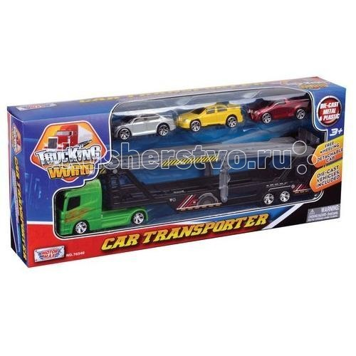 MotorMax Набор с грузовиком для перевозки автомобилей, рампой и 3 машинкамиНабор с грузовиком для перевозки автомобилей, рампой и 3 машинкамиMotorMax Набор с грузовиком для перевозки автомобилей, рампой и 3 машинками - увлекательный игровой набор придется по нраву юному водителю, который с удовольствием будет возить туда-сюда большой грузовик с рампой для погрузки.   Можно складывать в прицеп грузовика все что угодно, развивая фантазию и воображение. В том числе, благодаря имеющейся рампе, можно погрузить в прицеп три легковые машинки и доставить их к месту назначения.   Игрушка сделана в масштабе 1:64. Вы обнаружите аккуратные мелкие детали и реалистичность предметов игрового набора, что сделает игру с ним еще увлекательнее!   Все детали набора сделаны из прочных материалов, прошедших строгий контроль качества, а потому безопасных для малыша. Металлические элементы делают игрушки от Motormax крепкими и прочными, поэтому машинки прослужат маленькому перевозчику долго.   Длина грузовика: 36 см<br>