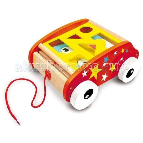 Каталка-игрушка Vilac тележка c веревочкой Геометрические блоки тележка c веревочкой Геометрические блоки 1111