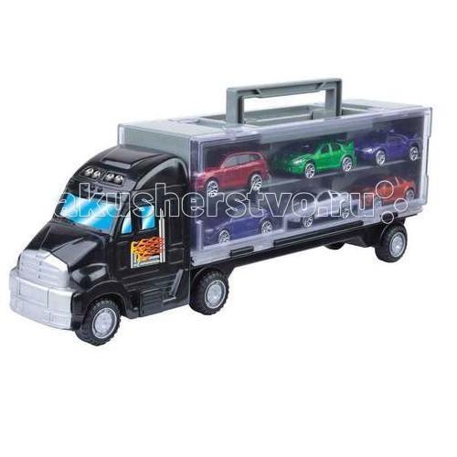 MotorMax Переносной кейс для машинок в виде грузовика + 6 машинПереносной кейс для машинок в виде грузовика + 6 машинMotorMax Переносной кейс для машинок в виде грузовика + 6 машин - игровой набор с уникальным удобным кейсом для переноски машинок понравится юному водителю, которому не сидится на месте. Теперь он сможет переносить игрушки с места на место, брать их с собой на улицу, не опасаясь за сохранность предметов.   Кейс выглядит просто шикарно! У него неповторимый удивительный дизайн, удобные ручки и крепкий замок. В кейсе спокойно разместятся 12 машинок до 8 см, а помимо прочего, в наборе вы обнаружите уже 6 машинок.   Все элементы набора сделаны из материалов, прошедших строгий контроль качества, а потому безопасных для детей.   Длина: 36 см  Каждая из разноцветных нелицензионных машинок реалистична и высокодетализирована. Производитель уделили внимание каждой мелочи, поэтому играть с машинками, значит, получать массу удовольствия!<br>