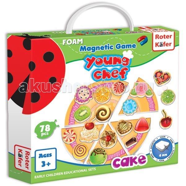 Roter Kafer Кулинарная магнитная игра ПирогКулинарная магнитная игра ПирогМагнитные игры – это не только весело и увлекательно, но еще и удобно! Играйте в дороге, на пикнике – везде, где захочется!  Сделать почти настоящий пирог и угостить им друзей или родителей – нет проблем! Такого замечательного пирога хватит на всех!   Большая круглая основа пирога разделена на 6 частей. Если сложить их вместе, можно «приготовить» один большой фруктовый пирог. А если разобрать основу на порционные кусочки, то, приняв заказ, можно приготовить каждому такой пирог, который он захочет. Например, с шоколадной начинкой или с кремовой.   Такая игра никогда не надоест!  Игра развивает мелкую моторику, фантазию, учит коммуницировать, расширяет словарный запас.  Толщина элементов: 4 мм<br>