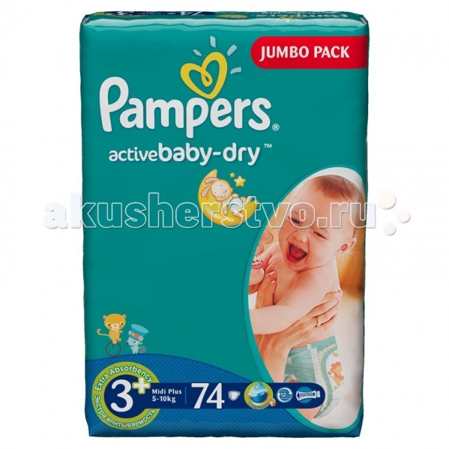 Pampers ���������� Active Baby �.3+ (5-10 ��) 74 ��.