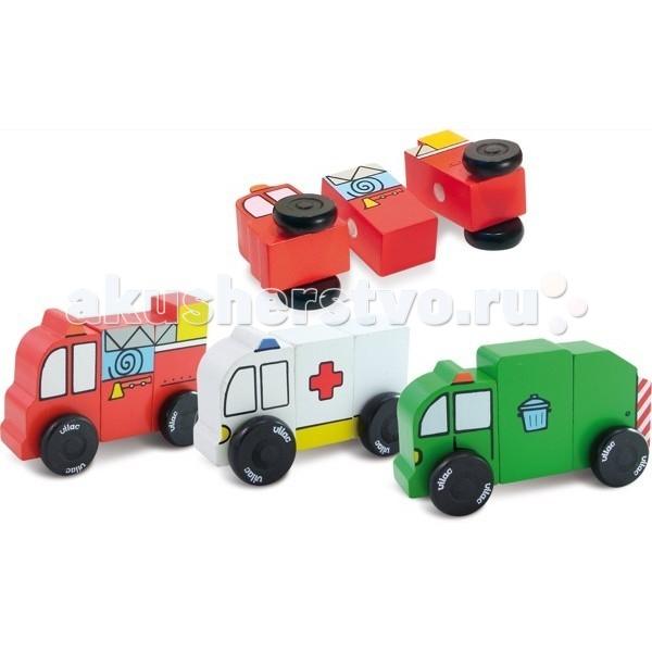 Деревянная игрушка Vilac Набор машин на магнитиках Спецтранспорт