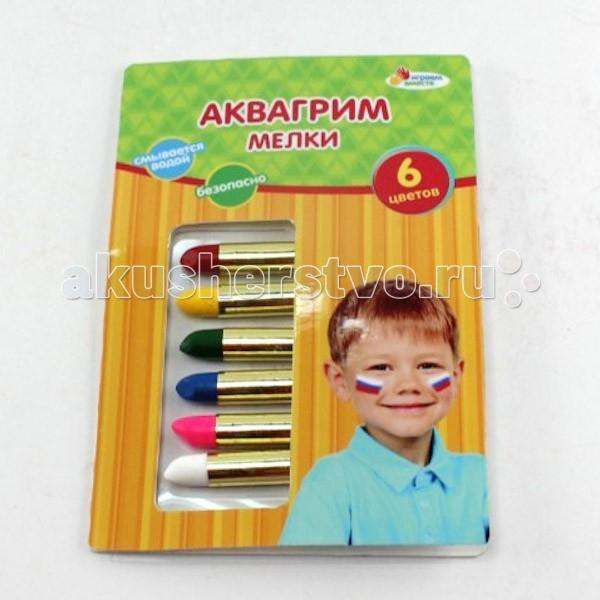 Multiart Аквагрим AG6M04Аквагрим AG6M04Играем вместе Аквагрим мелки 6 цветов.  Аквагрим — замечательное средство от плохого настроения, а также прекрасный подарок к празднику, с которым сможет повеселиться и ваш малыш и его друзья. Аквагрим безопасен, легко наносится на кожу и также легко с нее удаляется. В наборе имеется несколько красочных мелков в индивидуальной обертке, чтобы не испачкать ручки.  Цвет: красный, розовый, желтый, синий, зеленый, белый.<br>