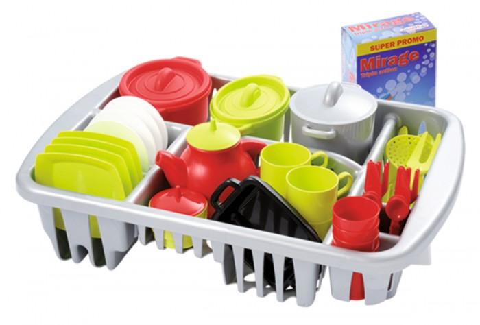 Ecoiffier Набор посуды (45 предметов)Набор посуды (45 предметов)Набор Ecoiffier посудка    В комплекте:    сушилка для посудки,   столовые приборы на 4 персоны (вилка, нож),   столовые тарелки - 4 штуки,  чайный сервис на 4 персоны - блюдце, чашка, ложка,   сахарница с крышкой,   чайник с крышкой,   форма для выпечки,   3 кастрюли с крышками,   инструменты повара: шумовка, большая ложка, большая вилка, нож,   пачка раствора для мытья посуды.<br>